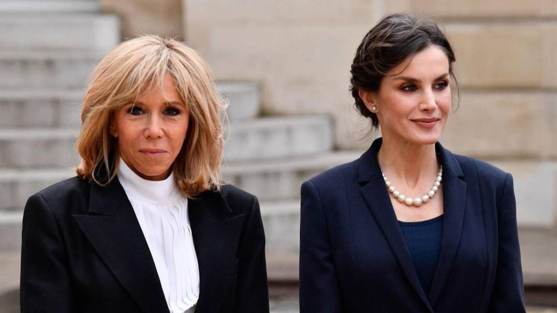 Кралица Летисия и Брижит Макрон заложиха на класически шик в Париж