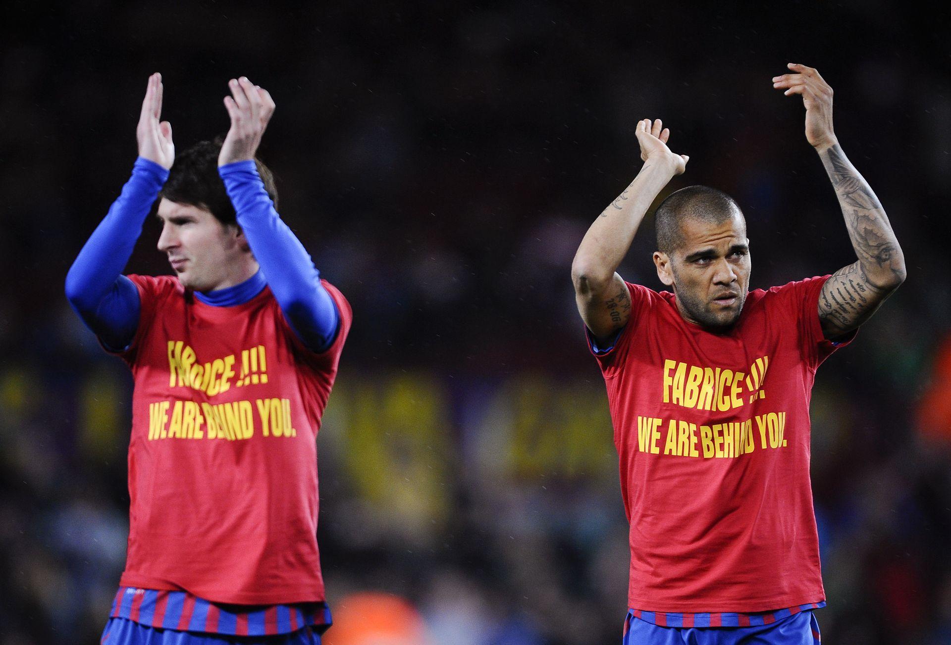 Лео Меси и Барселона също подкрепиха Муамба в битката му за живот ден след двубоя в Лондон, когато излязоха за техния мач в Испания