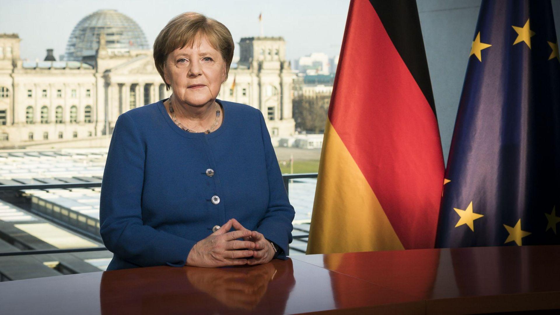 Ангела Меркел пазарува тоалетна хартия и вино насред кризата