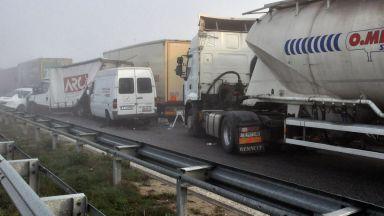 """Двама шофьори са загинали в мелето с 22 тира на АМ """"Марица"""""""
