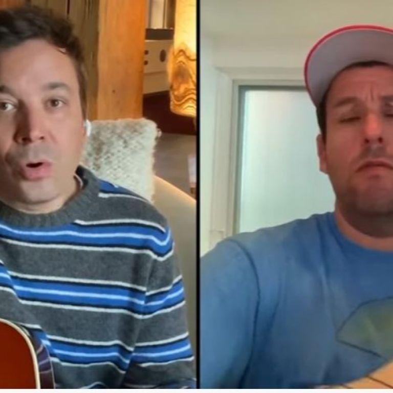 Адам Сандлър и Джими Фалън в дует за баба от вкъщи
