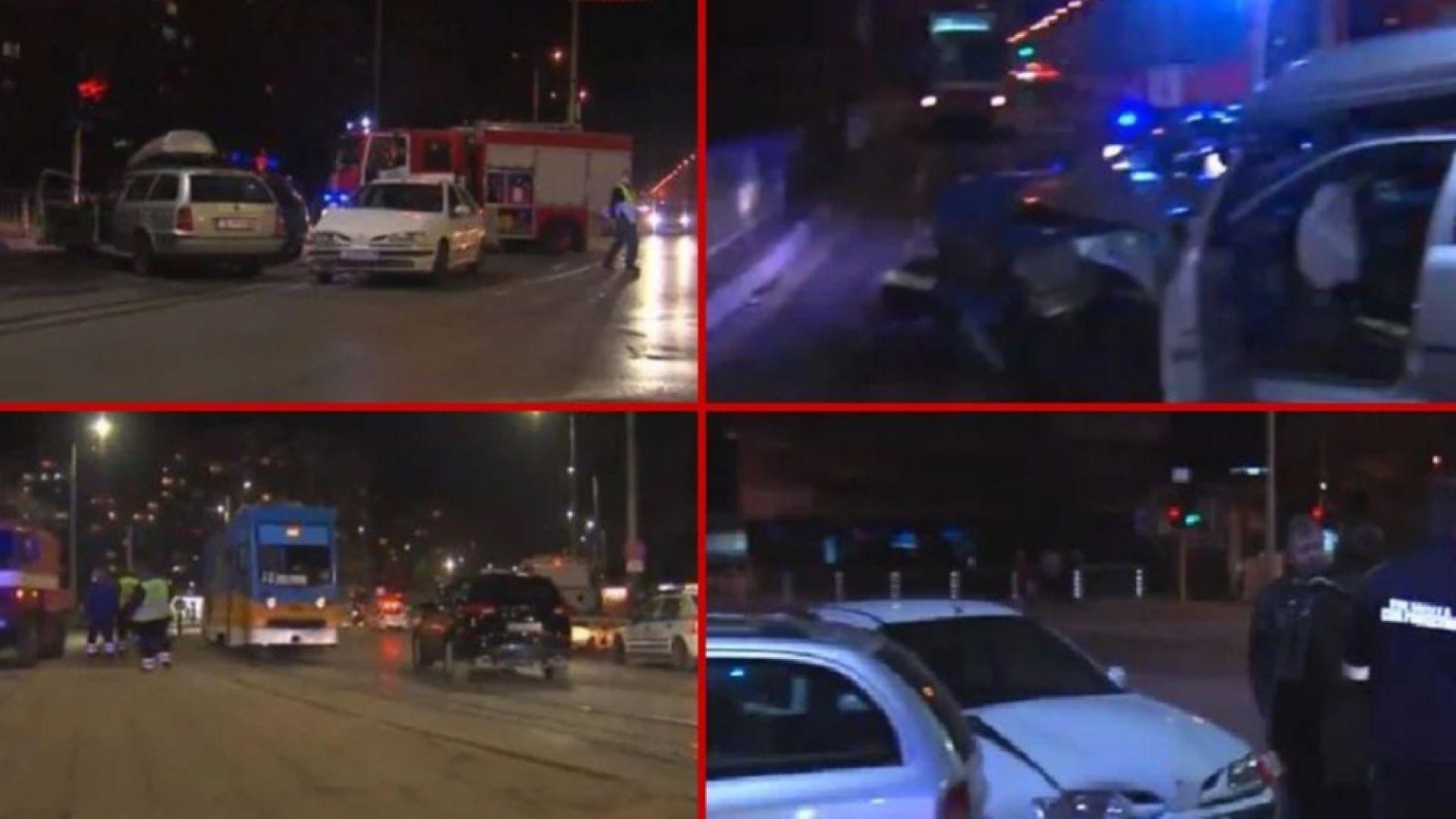 Tри автомобила се сблъскаха във верижна катастрофа в столичния квартал