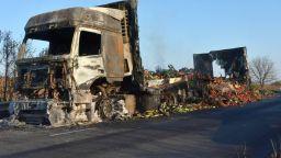 ТИР с домати изгоря на пътя Симеоновград - Харманли (снимки)