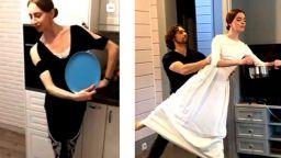 Руски балерини танцуват в кухните си