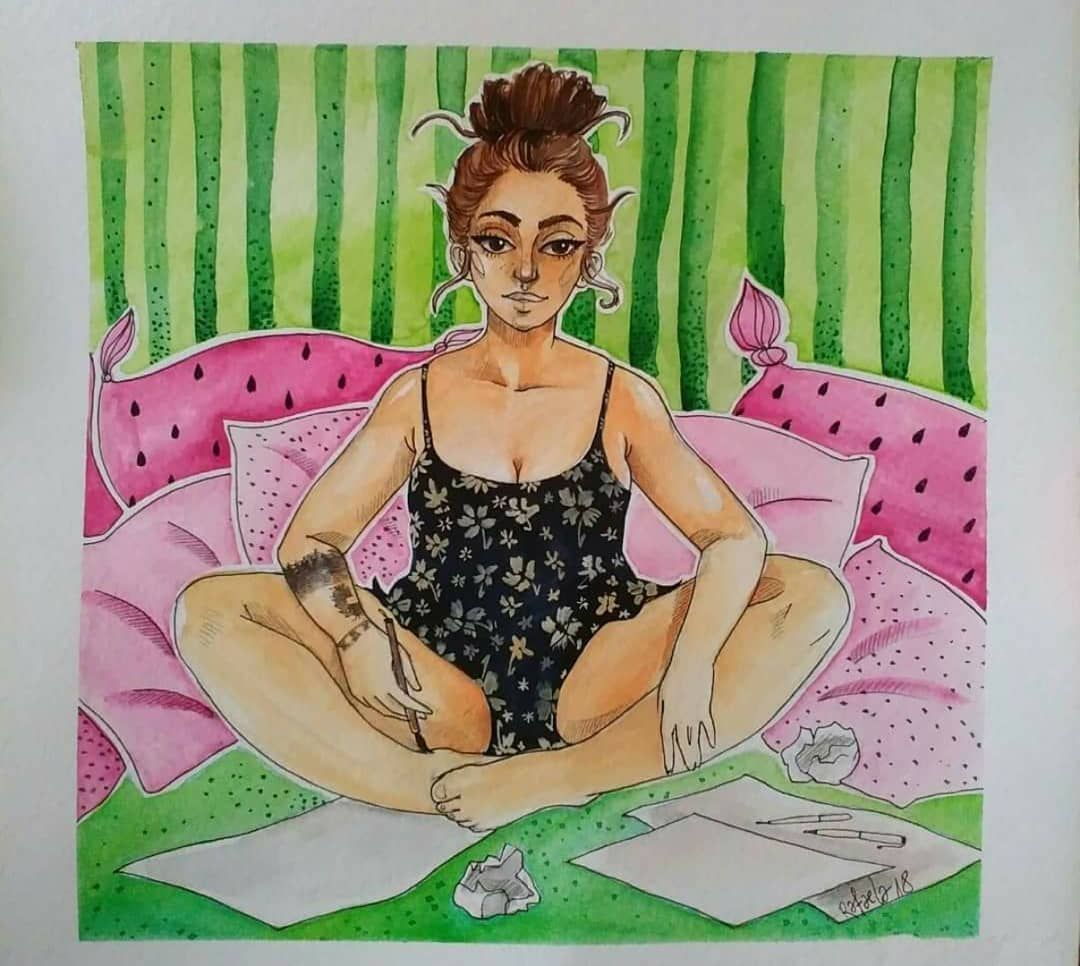 ...или тази, на която рисува...