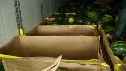 Откриха незаконни мигранти в камион, скрити между дини (снимки)