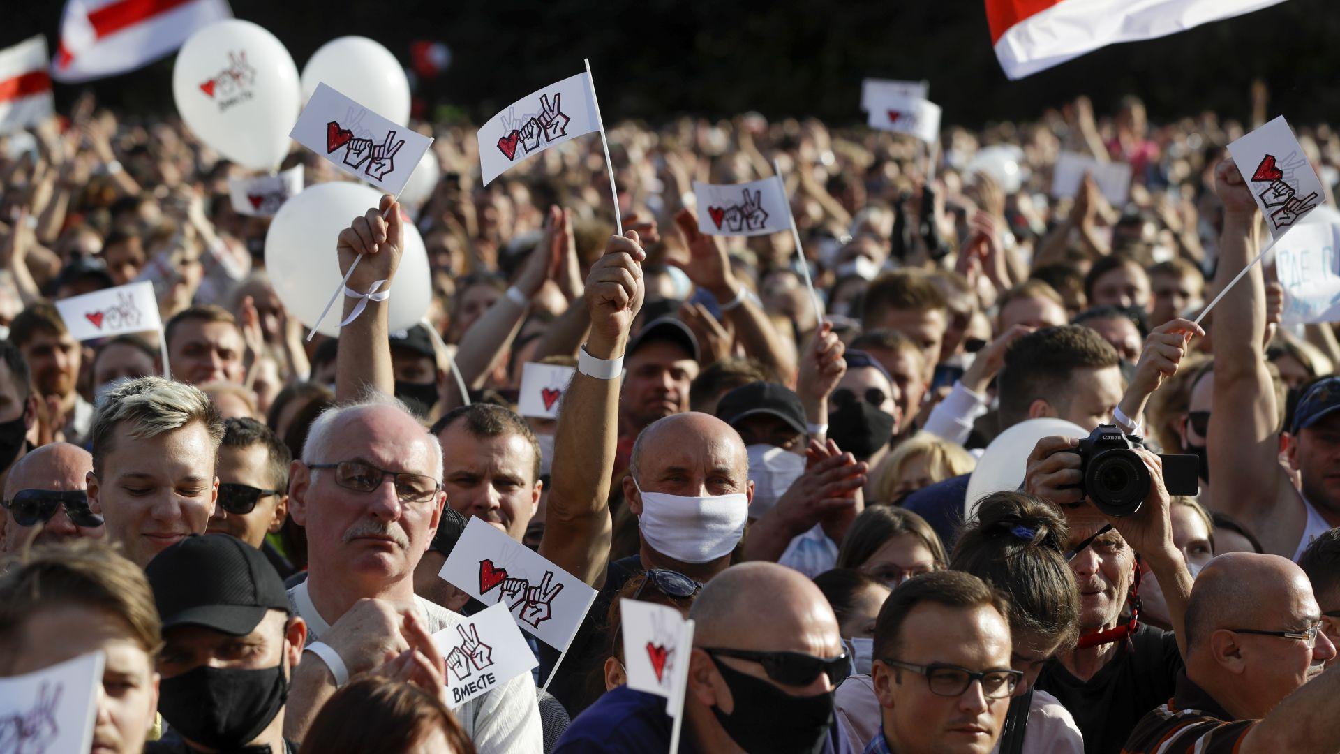 Десетки хиляди се стекоха на предизборен митинг на беларуската опозиция (снимки)