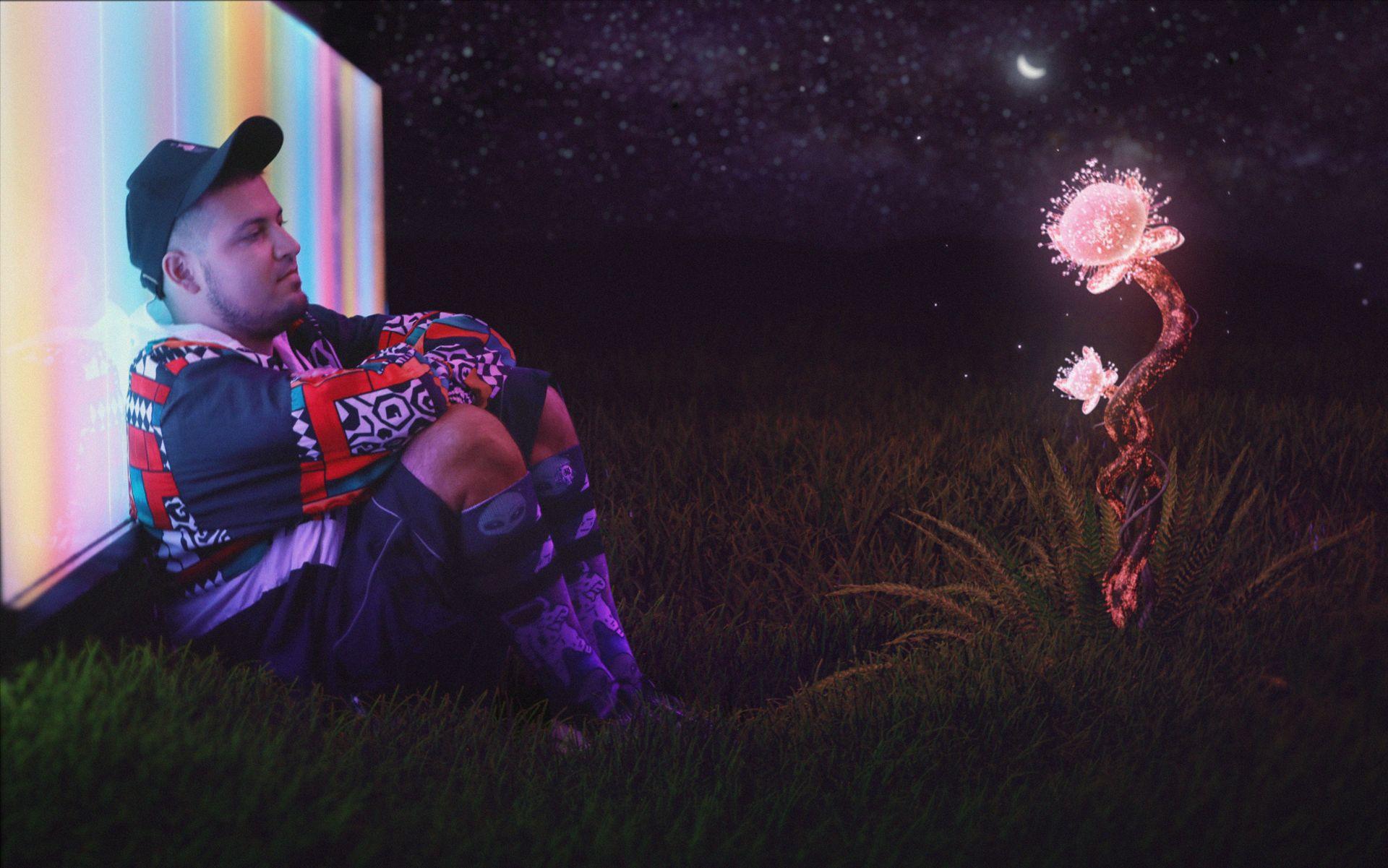 IVAN TRIDE с космическото цвете YERBA, измислено за музикалния клип с Juicy J и Alek Sandar