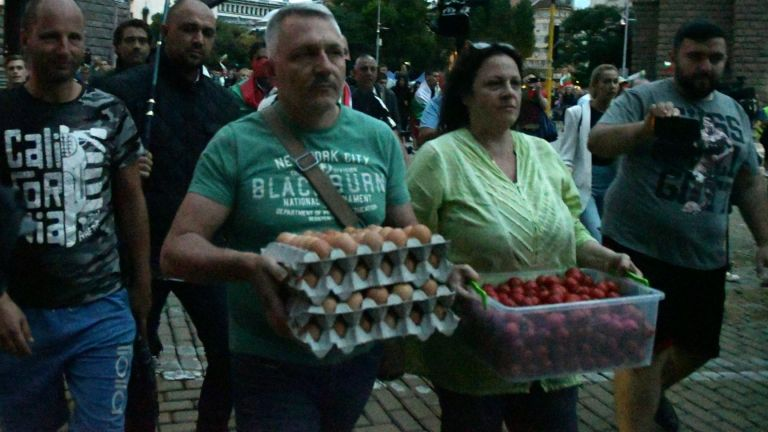 31 ден на протести: Яйца и домати полетяха срещу Министерски съвет (снимки+видео)