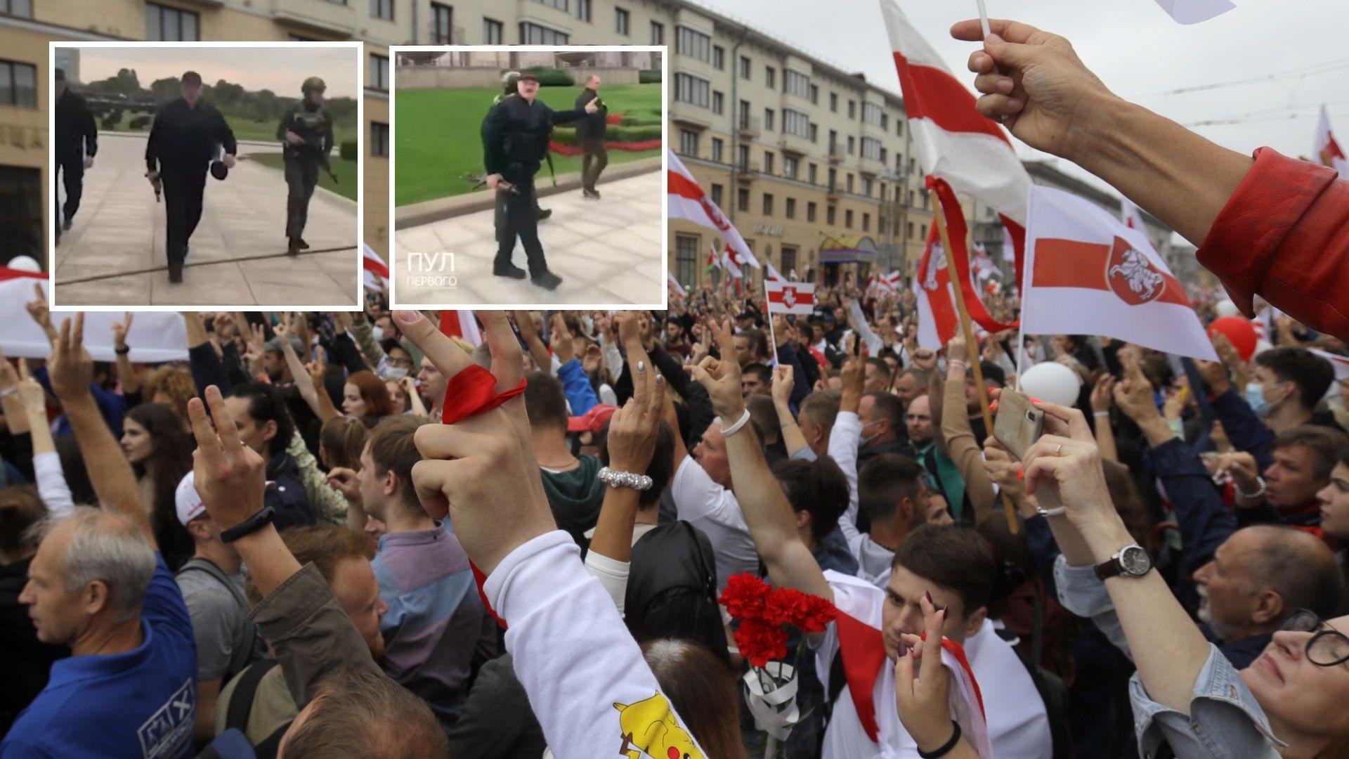 Над 100 000 в центъра на Минск, Лукашенко сниман с бронежилетка и автомат в ръка (видео)