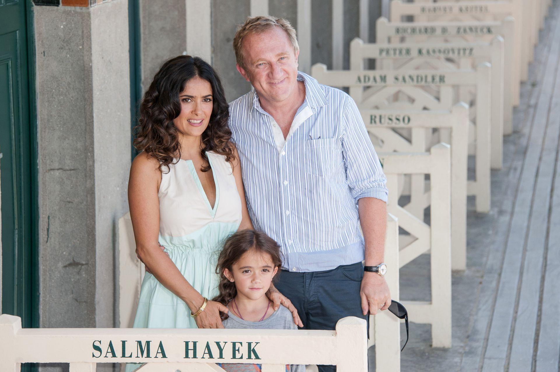 Салма Хайек с Франсоа-Анри Пино и дъщеря им Валентина