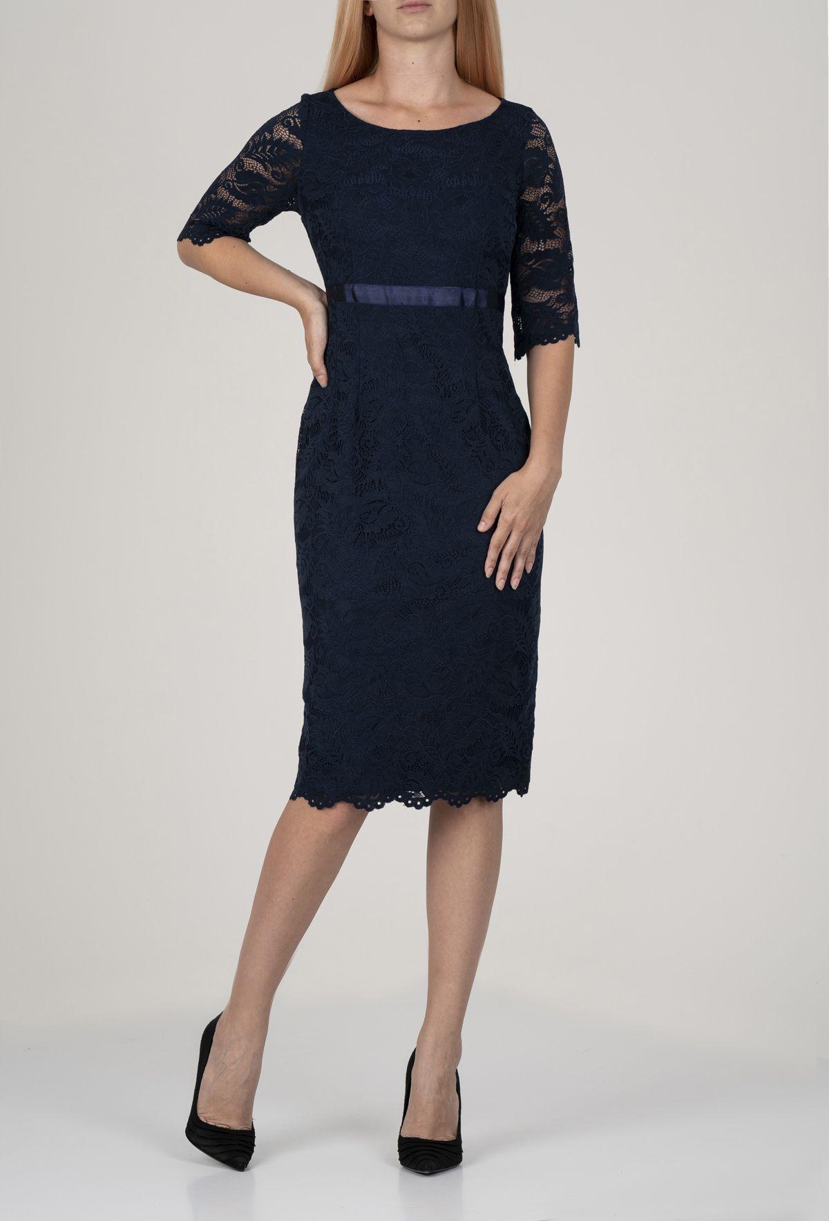 Синя рокля с дантела от полиамид на Mellini