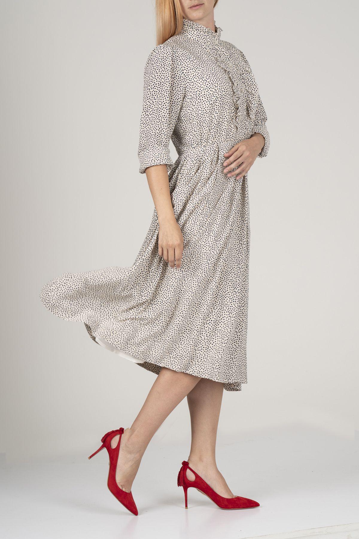 Разкроена рокля от вискоза на точки от Mellini