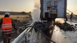 """Сръбски ТИР се запали и затвори магистрала """"Тракия"""""""