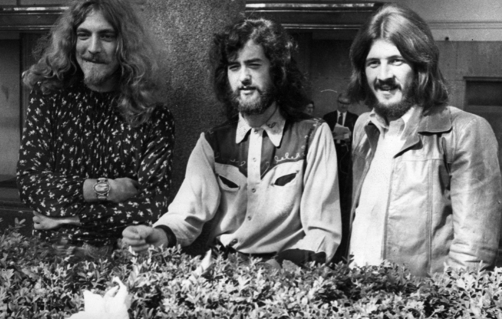 16 септември, 1970 г., Робърт Плант, китаристът Джими Пейдж и барабанистът Джон Бонъм.