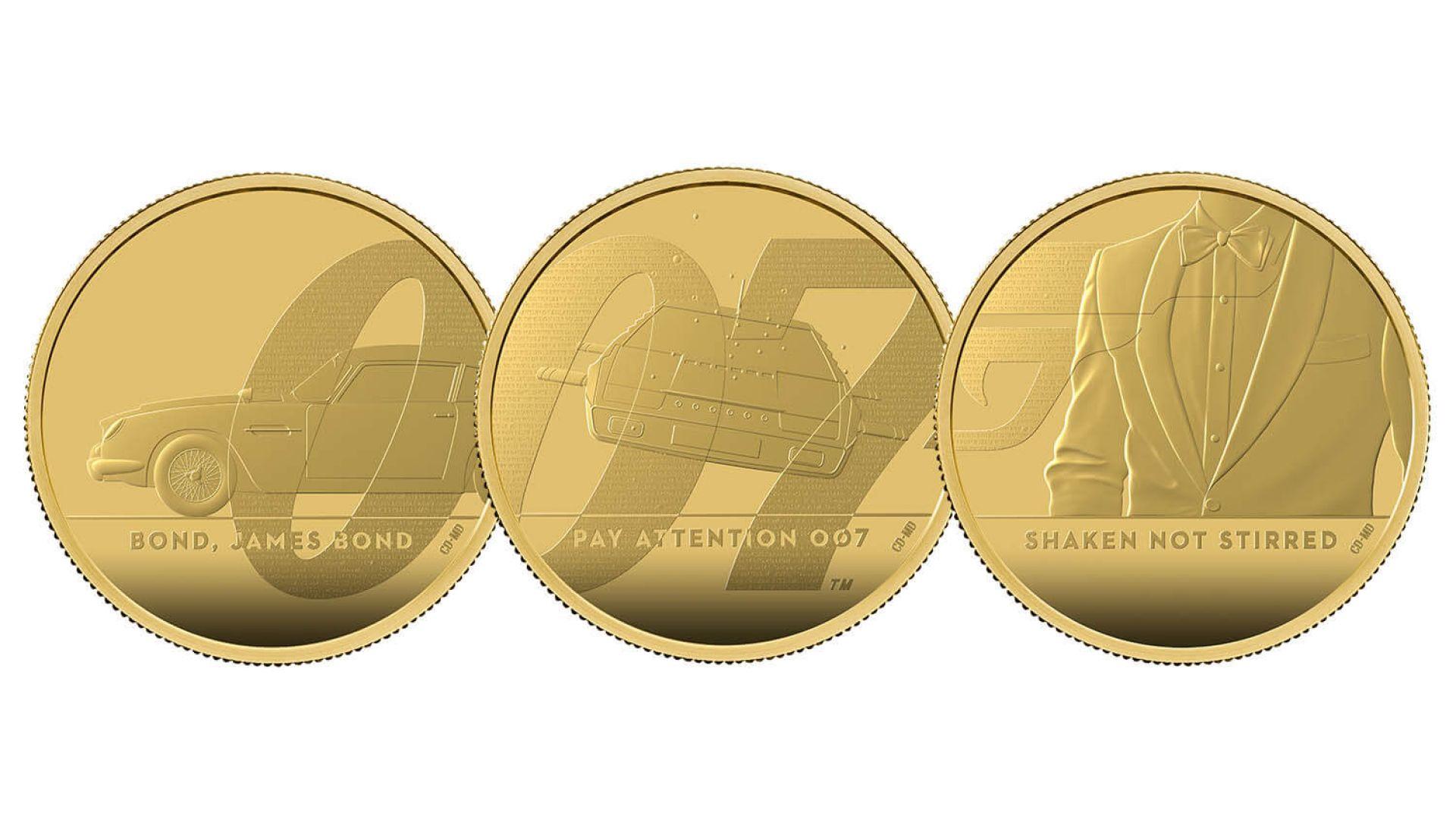 Кралският монетен двор пусна монета от серията за Джеймс Бонд със скрито послание