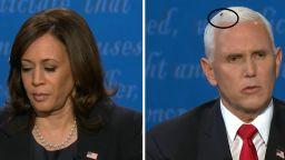 Муха кацна на главата на Пенс по време на дебата с Харис и породи шеги (видео)