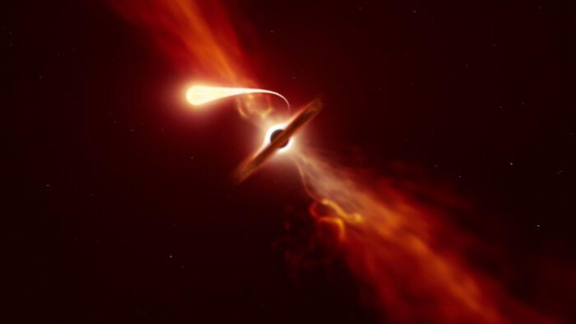 Учени видяха как черна дупка превръща звезда в спагети (видео)