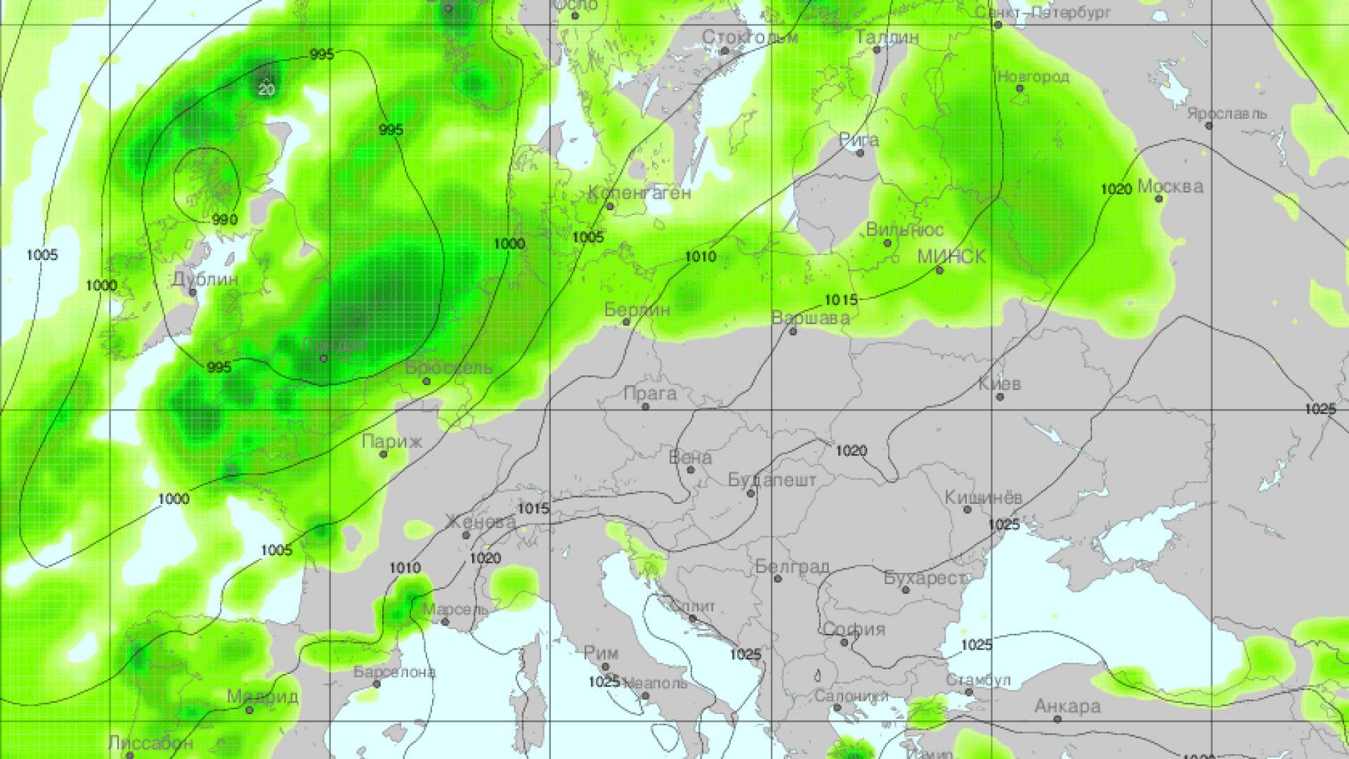 Карта на очакваните валежи над континента