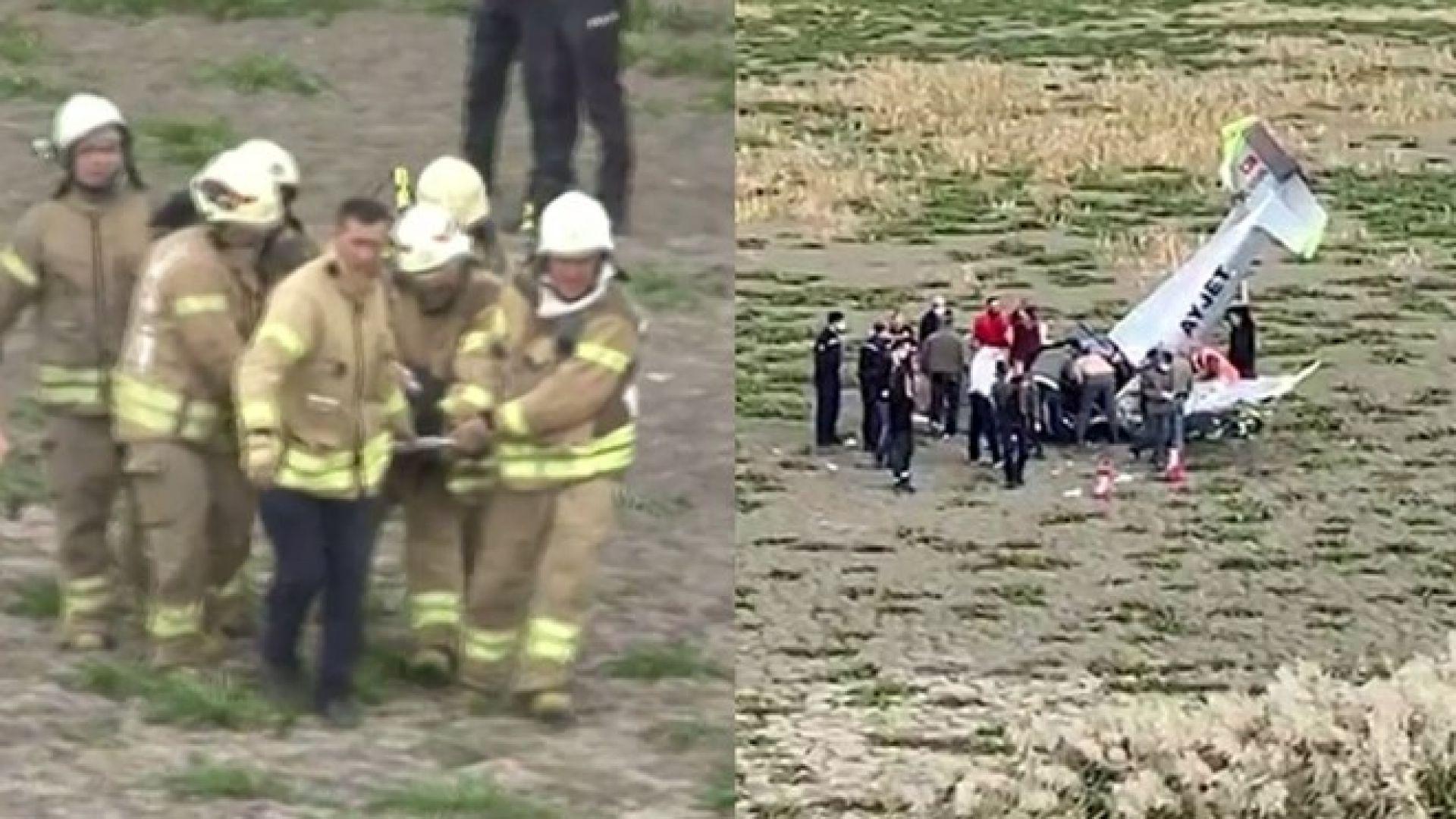 Тренировъчен самолет се разби в Истанбул (видео)