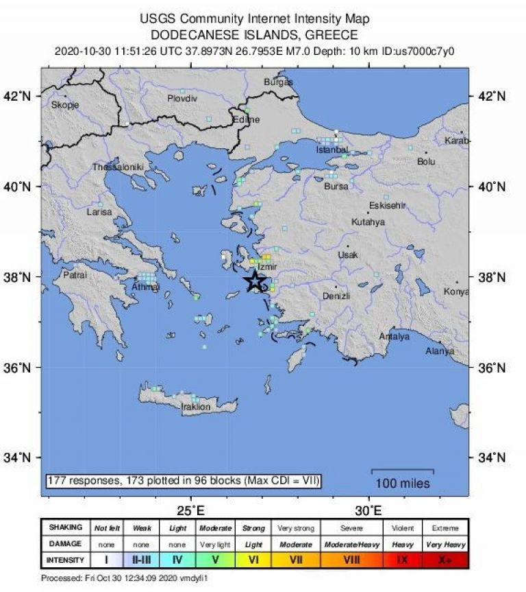 Карта на Американската геоложка служба за епицентъра на днешното земетресения (указан със звезда)