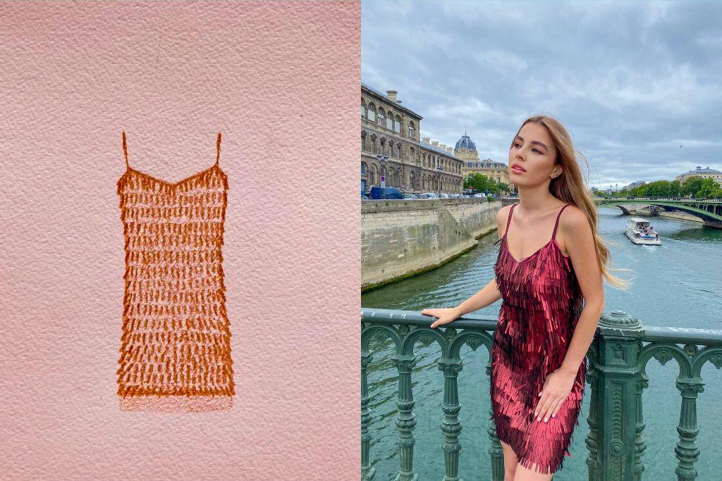 Скицата на роклята и завършената дреха, облечена от Симона Трайкова в Париж