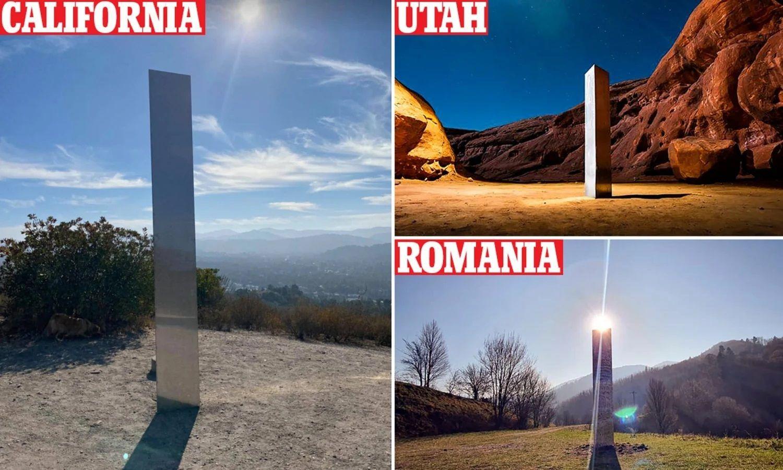 Идентични монолити изникнаха в три страни