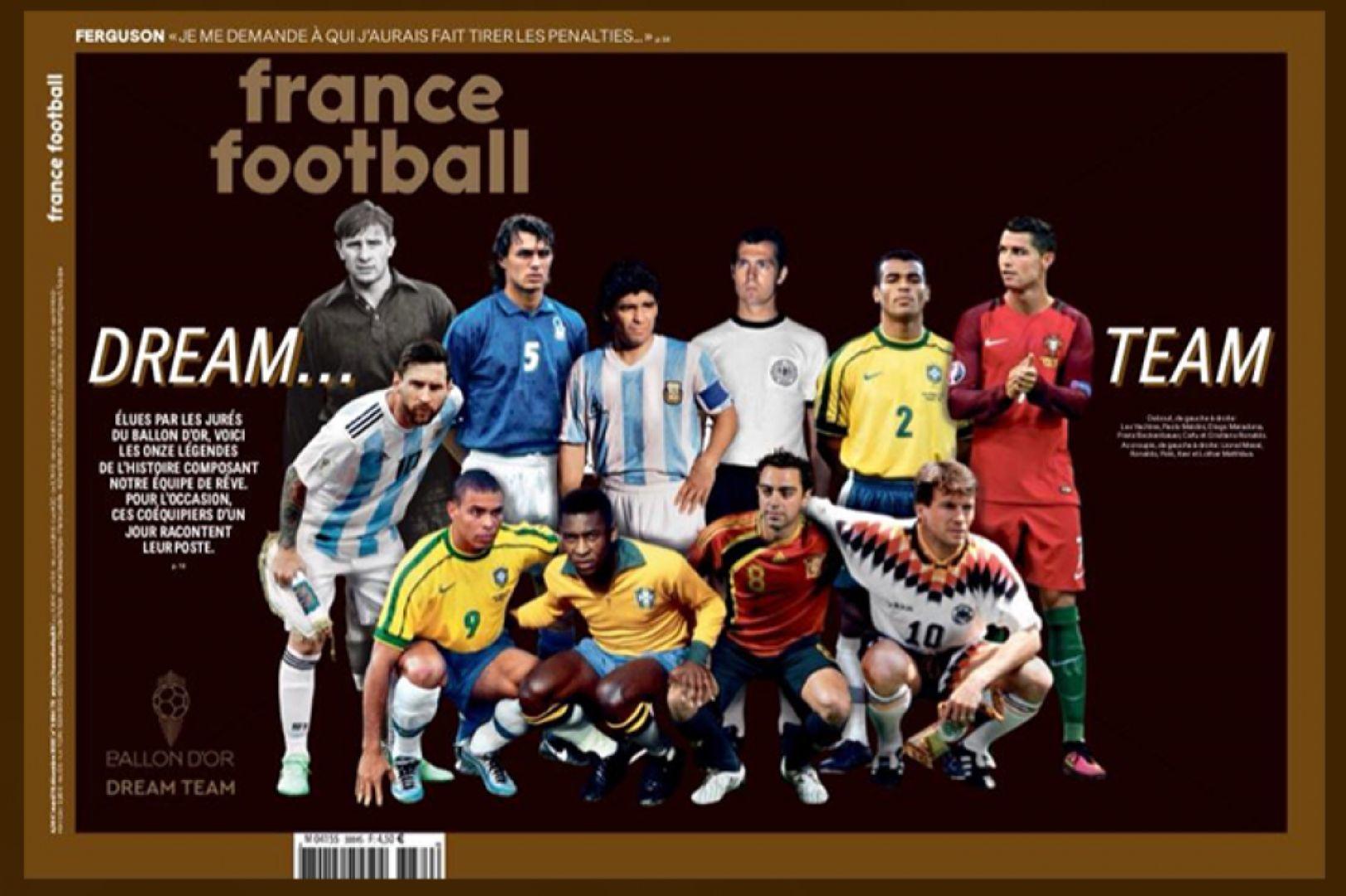 """Корицата на списание """"Франс Футбол"""" с идеалните 11 на всички времена"""
