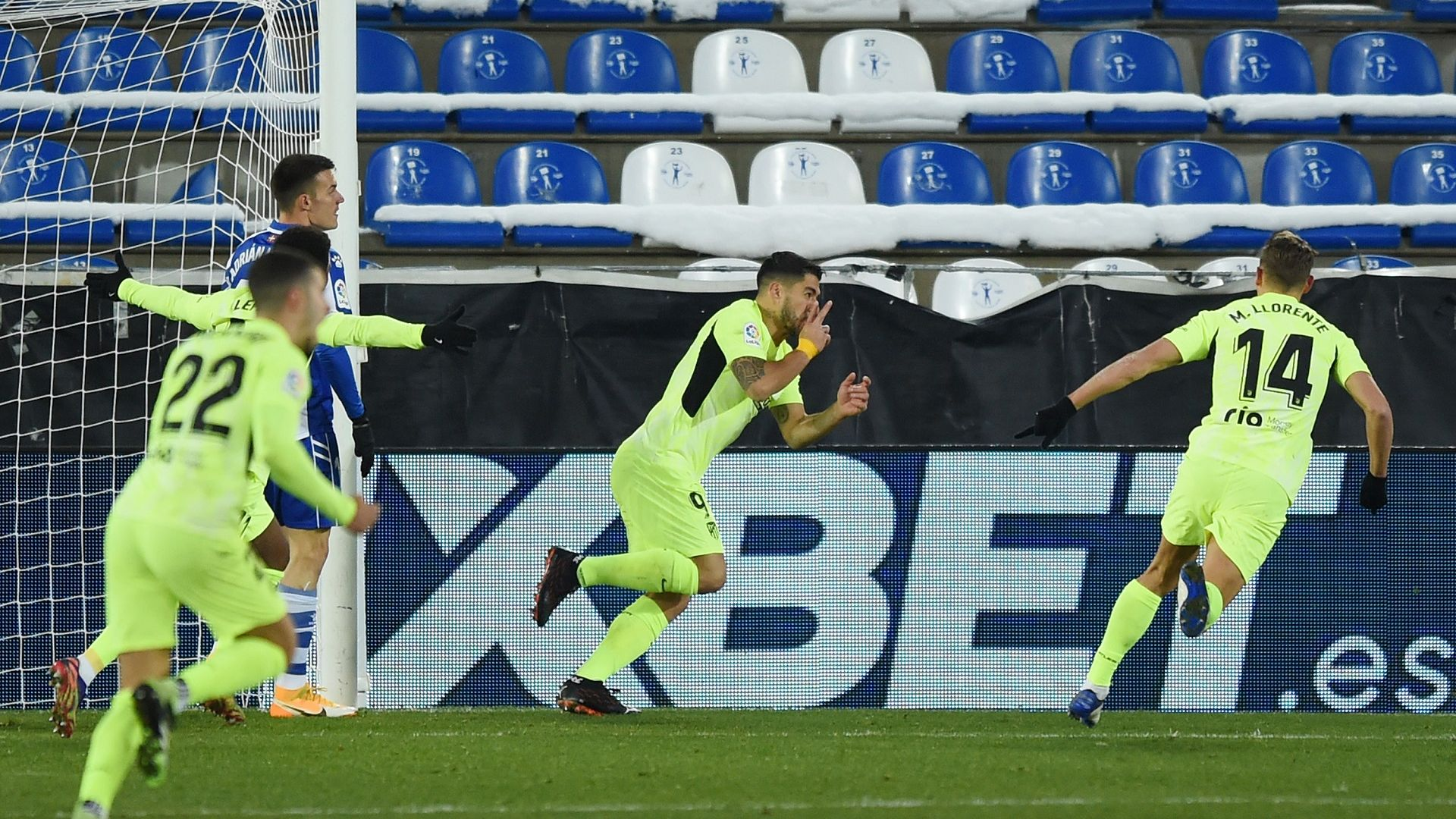 С гол в последната минута, Суарес върна Атлетико на върха в Испания
