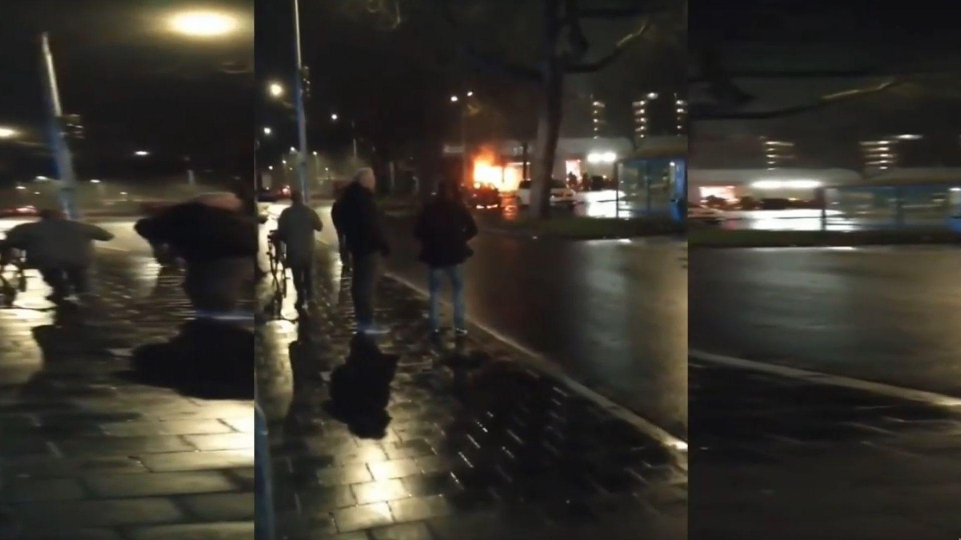 Взрив изпепели супермакет в Нидерландия (видео)