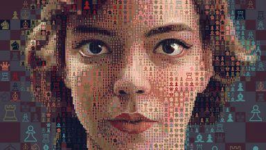 """Артист създава портрети на Бет Хармън от """"Дамски гамбит"""" от шахматни символи"""