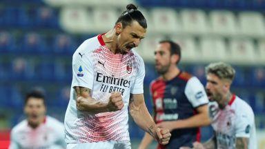 Завърналият се Златан преведе Милан през опасната Сардиния
