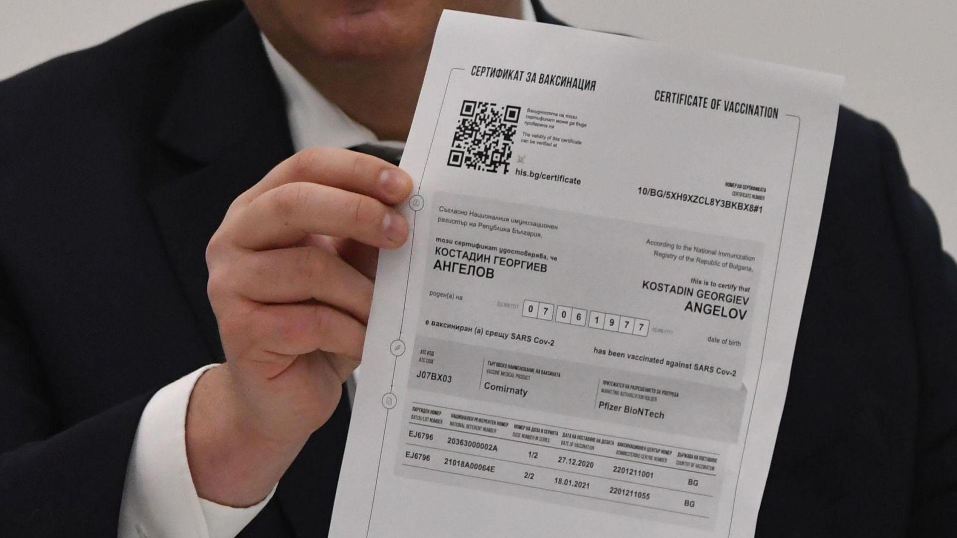 Оповестиха какъв е редът за коригиране на сгрешени данни в сертификатите за ваксинация