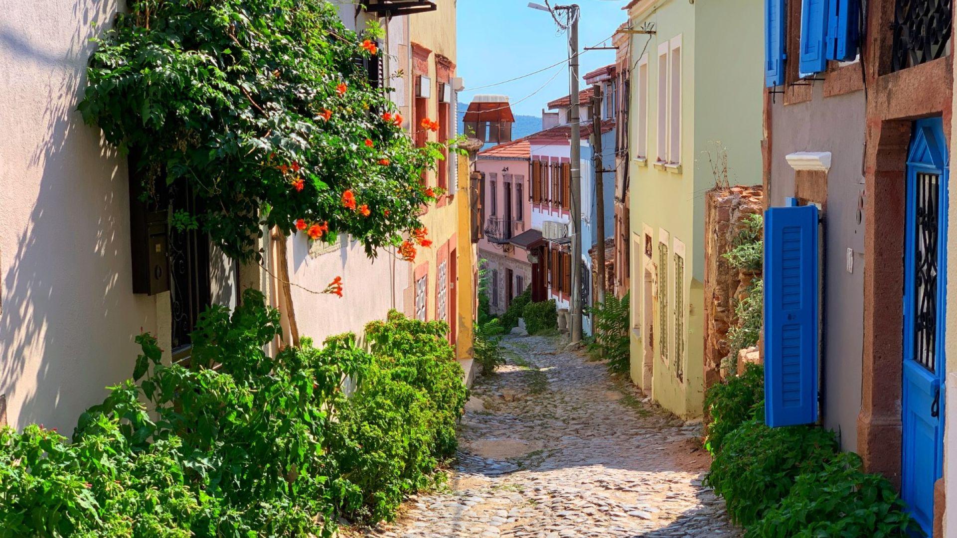 Айвалък е малък крайбрежен град, из чиито улици все още се виждат стари каменни къщи с яркосини дървени капаци на прозорците