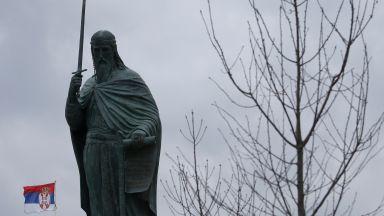 Откриха паметник на Стефан Неманя при грубо нарушаване на Covid мерките (видео)