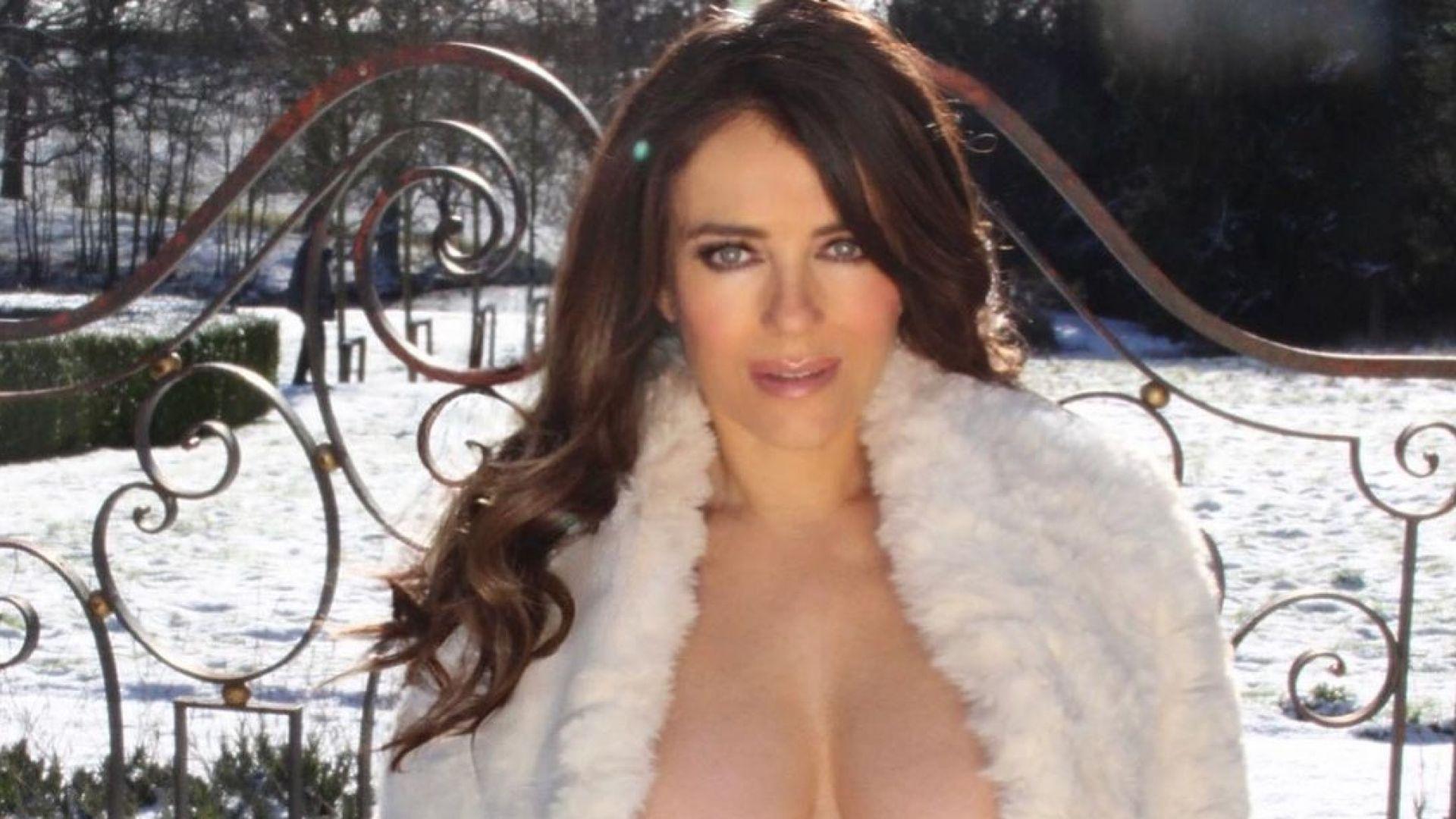 Не можете да ѝ устоите: Елизабет Хърли съблазнява по бикини посред зима