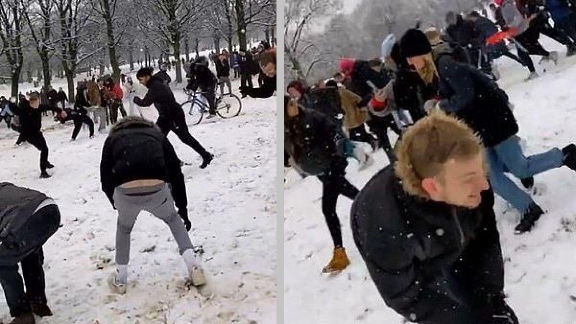 След видео в Тик Ток: Глобиха с по £10 хил. участници в масов бой със снежни топки