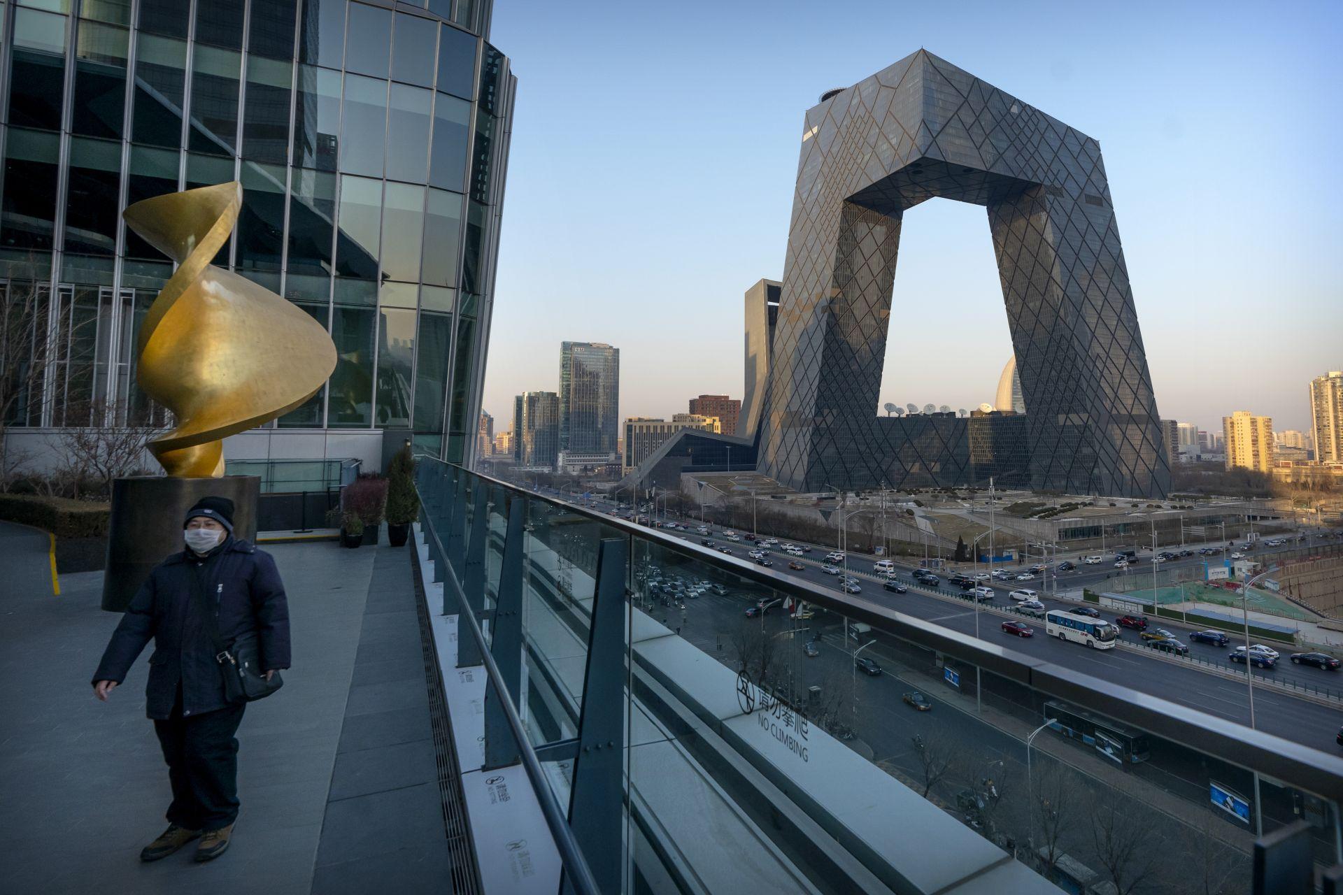 """Централата на китайската англоезична новинарска телевизия """"Чайна глоубъл телевижън нетуърк"""" в Пекин"""