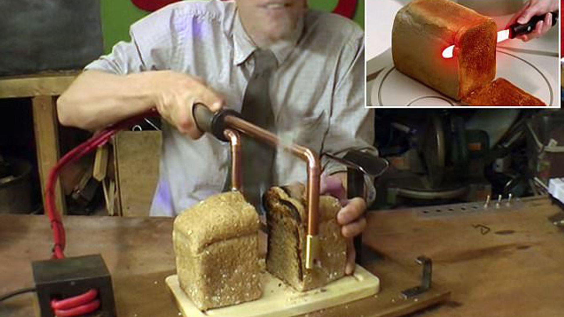 Нож препича хляба, докато го режем на филийки