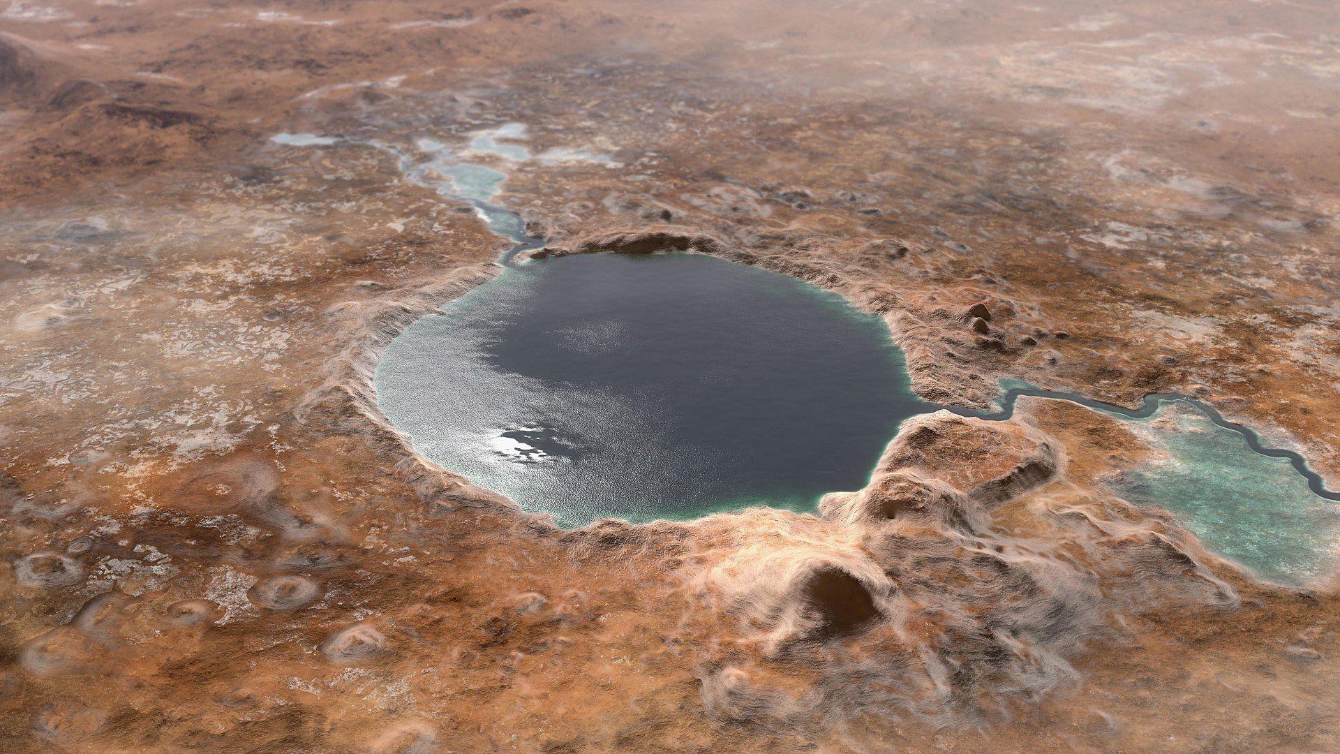 В миналото кратерът Джезеро е бил езеро, пълно с течна вода