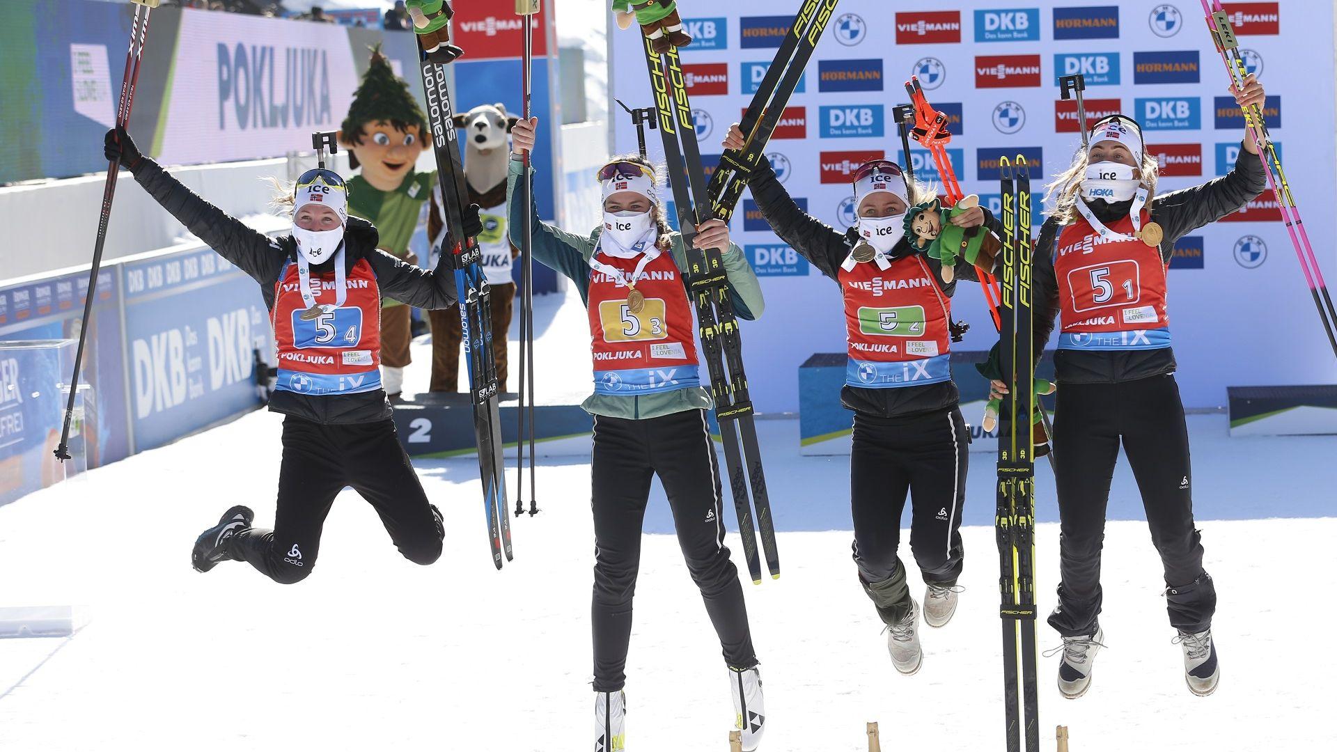 Кралиците от Норвегия с трета поредна титла от щафетата в биатлона