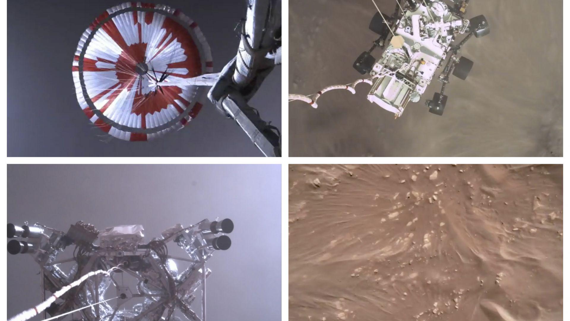 """НАСА показа зрелищно видео от кацането на """"Пърсивиърънс"""" на Марс, пусна и уникален аудиозапис"""