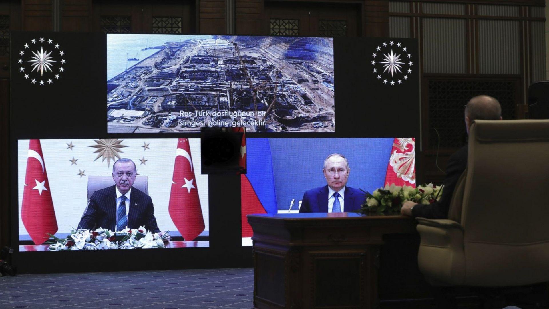 Путин и Ердоган дадоха старт на нов блок от най-големия в света ядрен проект
