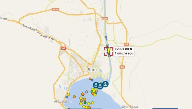 Местоположението на Евър Гивън в Суецкия канал, 29 март
