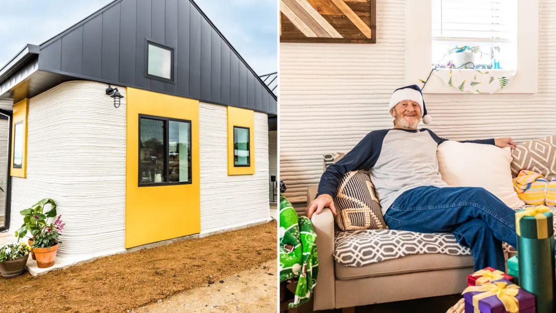 Бездомник се сдоби с 3D-принтирана къща