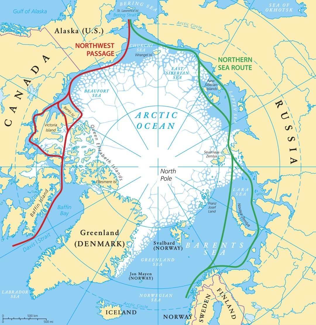 Северният морски път - в зелено, и Северозападният - в червено, и страните покрай които преминават