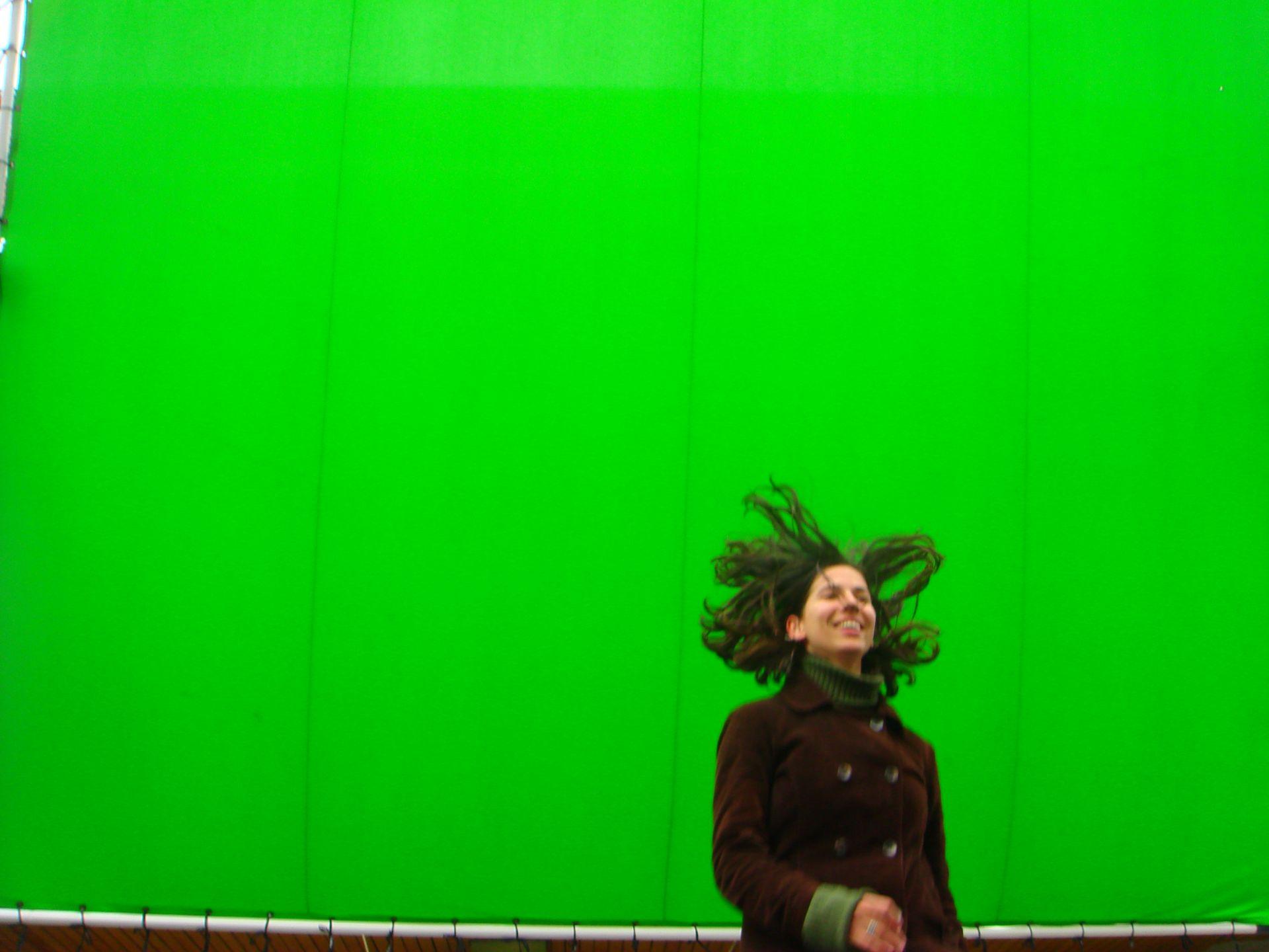 На зелен екран по време на снимки на рекламен клип за вафли