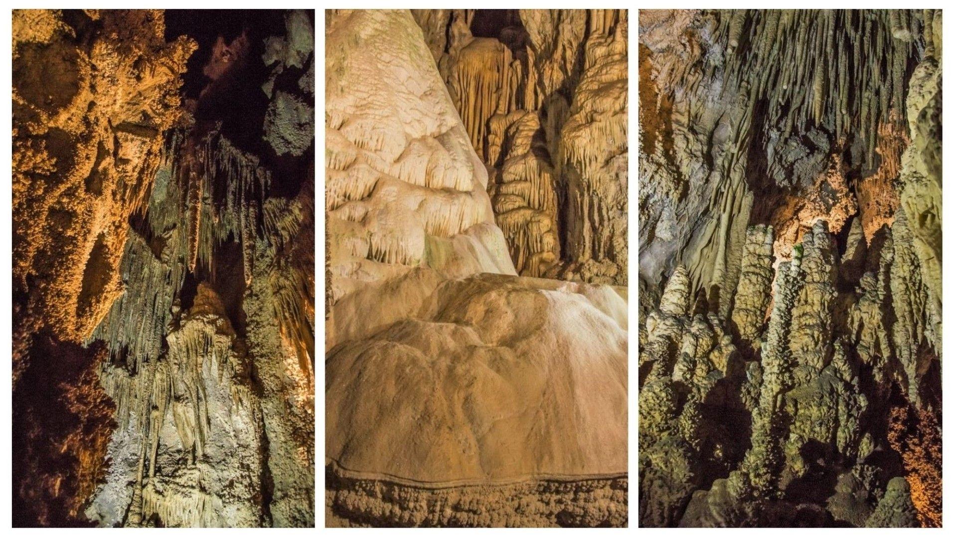 Пещерни образувания в Ухловица - в средата е големият водопад