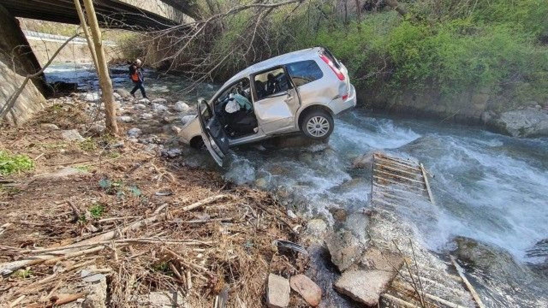 Лека кола падна в река от мост във Враца