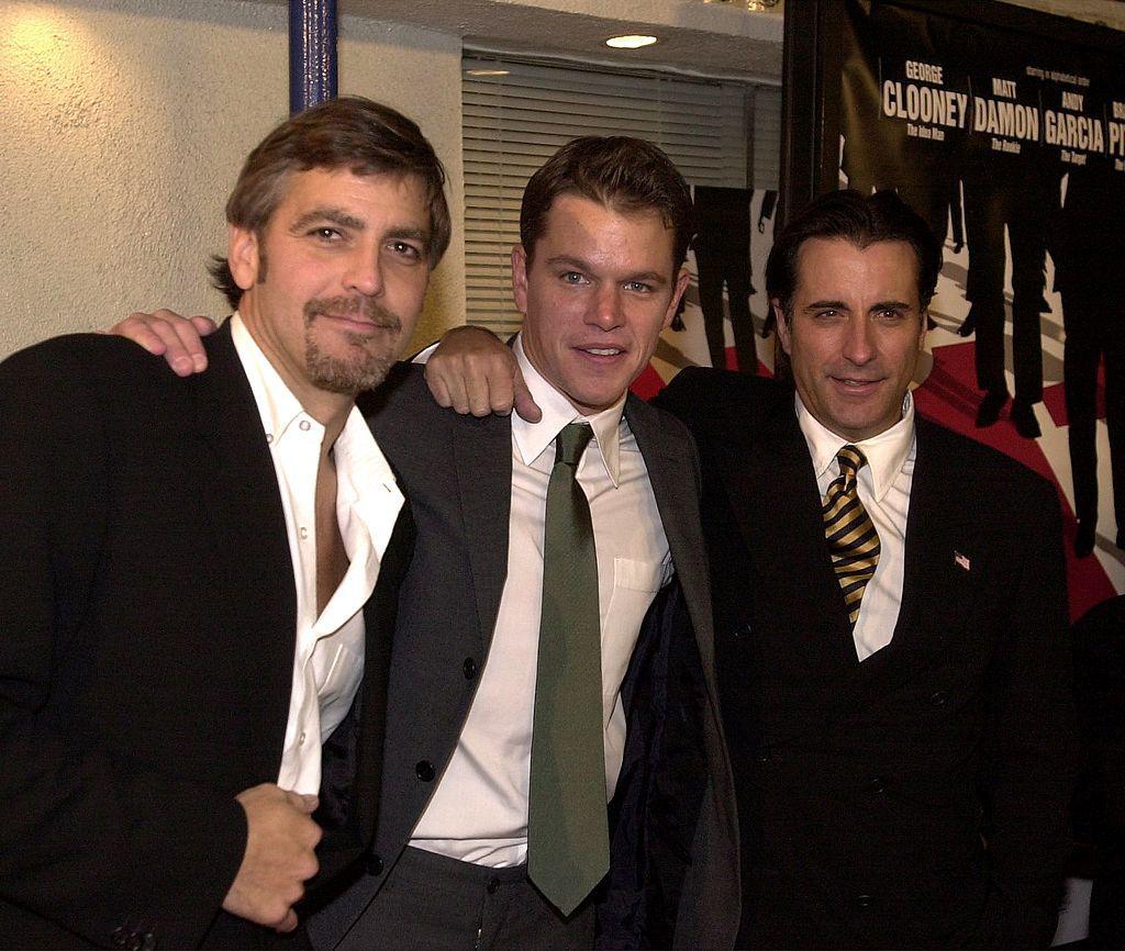 """Джордж Клуни, Мат Деймън и Анди Гарсия на премиерата на """"Ocean's Eleven"""""""